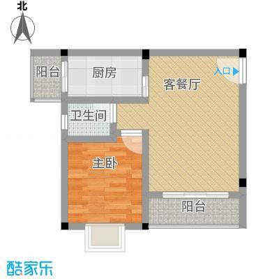 鼎秀风林45.76㎡F户型1室1厅1卫1厨