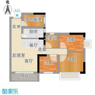 兰亭优壳89.00㎡户型3室1卫1厨