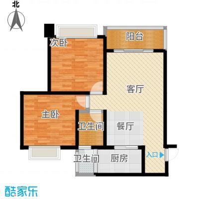 七星恋城83.09㎡B-1标准层户型2室1厅2卫1厨