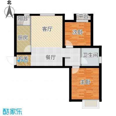 弘泽城91.00㎡3、4号楼标准层户型2室2厅1卫