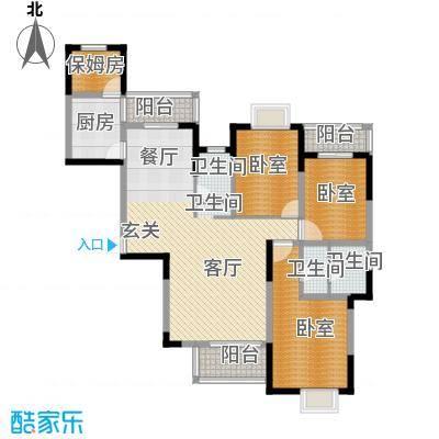 融侨锦城136.00㎡房型户型1厅3卫1厨