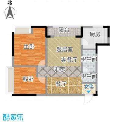 仁恒河滨花园95.00㎡E3户型2室1厅1卫