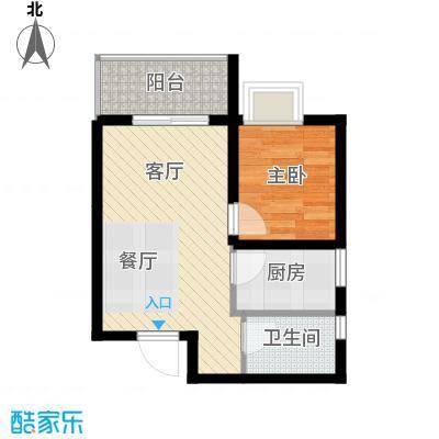 海�时代53.15㎡B户型1室1厅1卫1厨