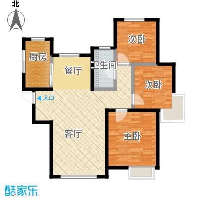 南益名士华庭104.00㎡G户型3室2厅1卫