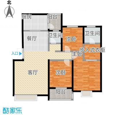 汇城上筑130.24㎡9-2户型3室1厅2卫1厨