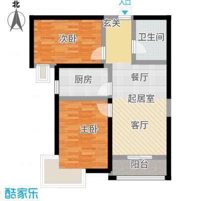 中建御景华庭86.00㎡二期7号楼B户型2室2厅1卫