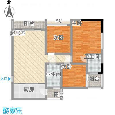 尚高・锦都尚高・锦都户型图4号楼8号三室两厅一卫3室2厅1卫户型3室2厅1卫