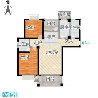 福瑞嘉园123.08㎡福瑞嘉园户型图G户型2室2厅2卫1厨户型2室2厅2卫1厨