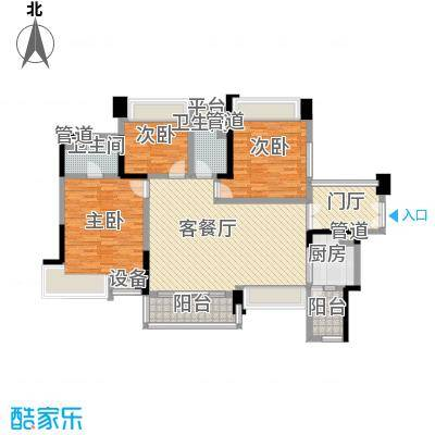 富湾国际120.00㎡富湾国际户型图二期4栋01户型3室2厅2卫1厨户型3室2厅2卫1厨