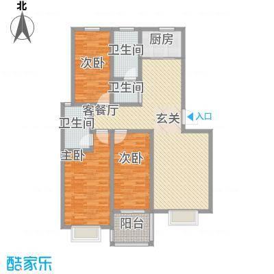华珍国际C户型 3室2厅2卫1厨 141.00㎡