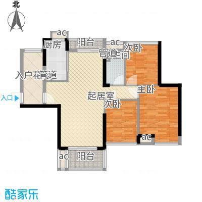 爱ME公园户型图9/10座 2-22层D-01户型 3室2厅1卫1厨