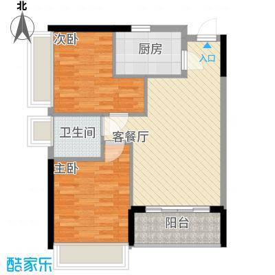 翡翠山79.92㎡翡翠山户型图2栋C户型2室2厅1卫1厨户型2室2厅1卫1厨