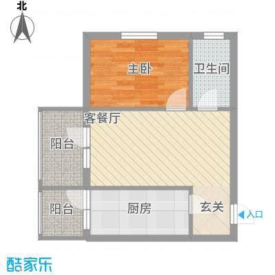 新宏基御景园御景园 3号楼1户型 1室1厅1卫1厨 56.38㎡