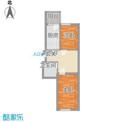 新宏基御景园御景园4号楼1户型 2室1厅1卫1厨 53.78㎡