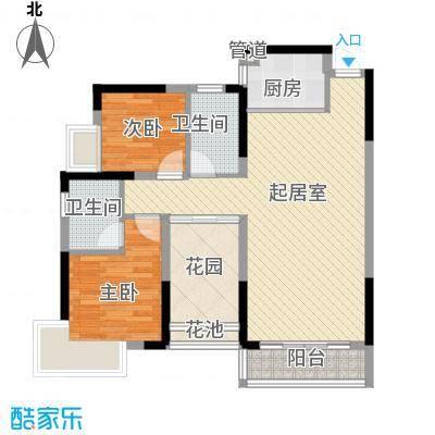 领域881栋B座05单元 2室2厅2卫1厨 89.83㎡