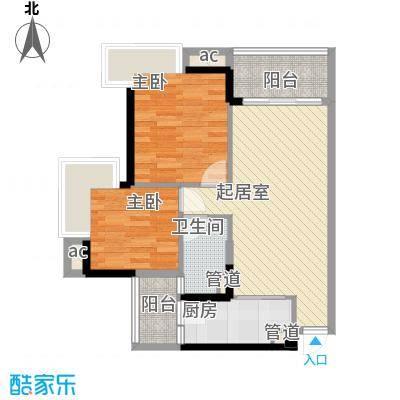 爱ME公园户型图9/10座 2-22层D-04户型 2室2厅1卫1厨
