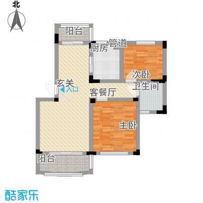 奇瑞龙湖湾户型图D2户型 2室2厅1卫1厨