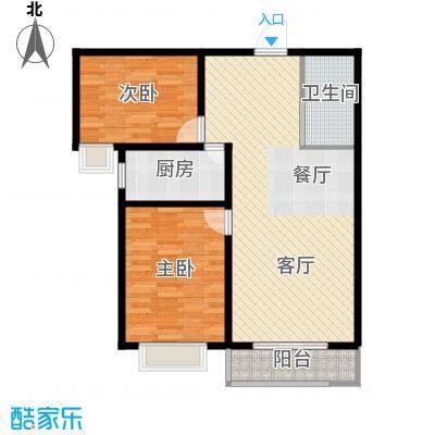 枫林逸景76.89㎡GA-户型2室1厅1卫1厨
