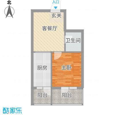新宏基御景园御景园 4号楼2户型 1室1厅1卫1厨 51.19㎡