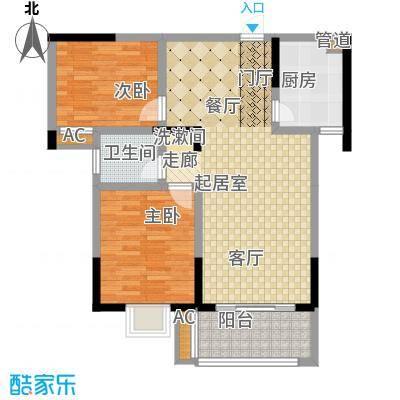 天华名城户型图一期D-02户型 2室2厅1卫1厨