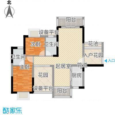 领域881栋B座01单元 2室2厅2卫1厨 89.64㎡
