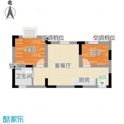 玫瑰园55.96㎡玫瑰园户型图二期7#楼G户型2室2厅1卫1厨户型2室2厅1卫1厨