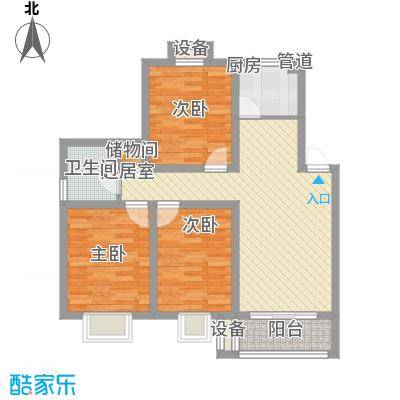 上海花园100.00㎡上海花园户型图一期5、6、7、9号楼标准层B2户型3室2厅2卫2厨户型3室2厅2卫2厨