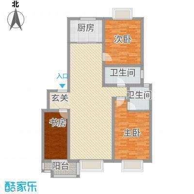 智雅茗苑6#C户型 3室2厅2卫1厨 128.56㎡