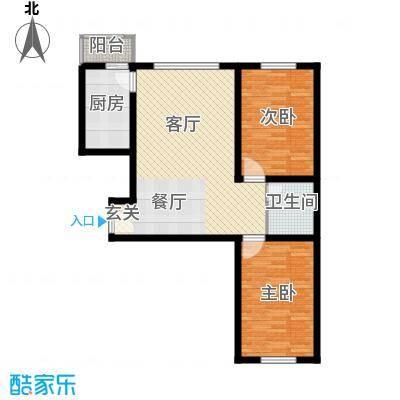 枫林逸景81.85㎡DA-户型2室1厅1卫1厨