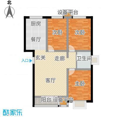 金港花园107.80㎡C1东户型 3室2厅1卫 107.80平户型3室2厅1卫