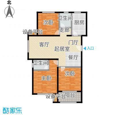 依水现代城130.01㎡10号楼A户型 3室2厅2卫 130.01平户型3室2厅2卫