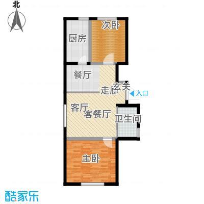 万家翔悦76.76㎡B-1户型2室2厅1卫