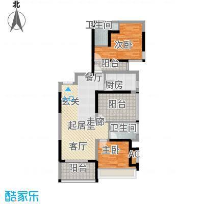 金沙世纪城103.39㎡2+1房2厅2卫户型2室2厅2卫