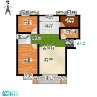 龙泽国际113.58㎡三室两厅两卫户型3室2厅2卫X