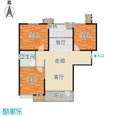 �阳新城三室两厅一卫一厨124.99平米户型