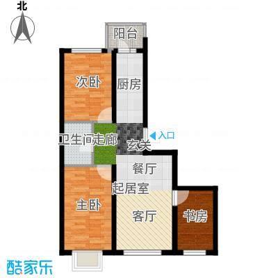 红星凯悦66.94平米户型3室1厅1卫X