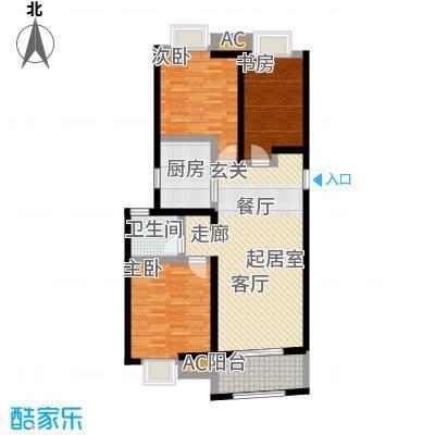 南通华润中心98.00㎡三房两厅一卫户型3室2厅1卫-T