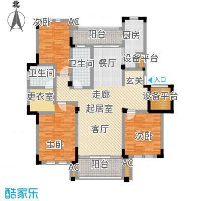 中港城世家141.00㎡A1户型三室两厅两卫141平米户型3室2厅2卫