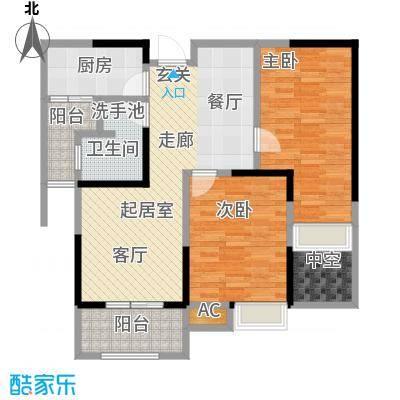绿地中央广场87.00㎡E户型2室2厅1卫