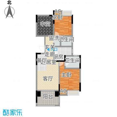 绿地中央广场100.00㎡E户型 2室2厅1卫户型2室2厅1卫