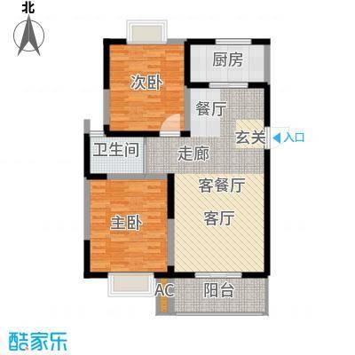 怡水花园88.29㎡2室2厅1卫户型2室2厅1卫