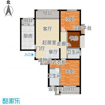 依水现代城129.10㎡10号楼F户型 3室2厅2卫 129.10平户型3室2厅2卫