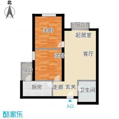 先锋领寓57.16㎡两室一厅一卫户型