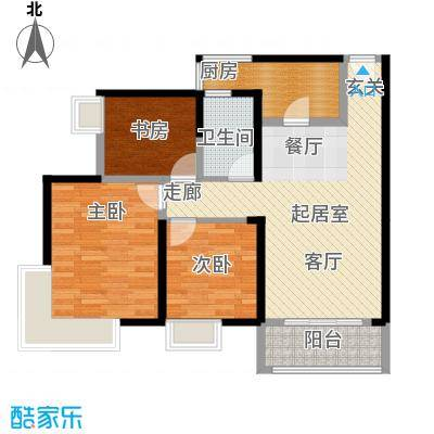 诚杰壹中心102.81㎡D2三房二厅一卫户型3室2厅1卫