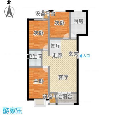 金港花园109.21㎡E1户型 3室2厅1卫 109.21平户型3室2厅1卫