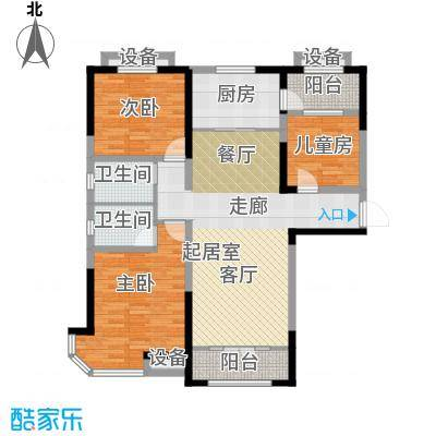 迁安碧桂园131.00㎡精装洋洋房J646b6_B 131平户型3室2厅2卫