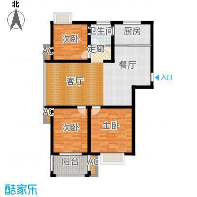 蓝天华侨城115.84㎡三室两厅一卫,面积约115.84㎡户型3室2厅1卫