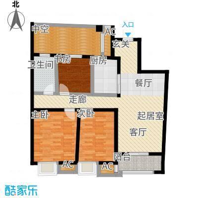 南通华润中心108.00㎡108平米三房两厅一卫户型-T