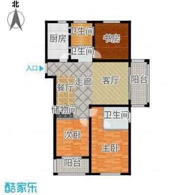 同科・汇丰国际127.00㎡三室两厅两卫,面积约127㎡户型3室2厅2卫