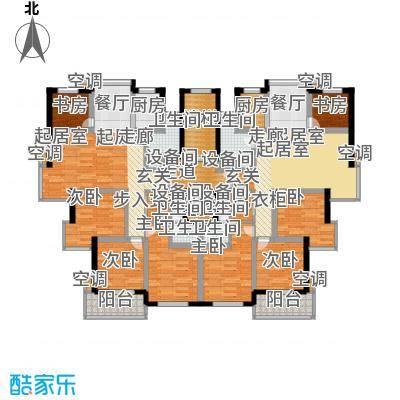 三禾城中城161.00㎡建筑面积约161.0平米,三房二厅二卫户型3室2厅2卫